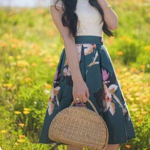 Chicwish A-line Pleated Teal Floral Skirt